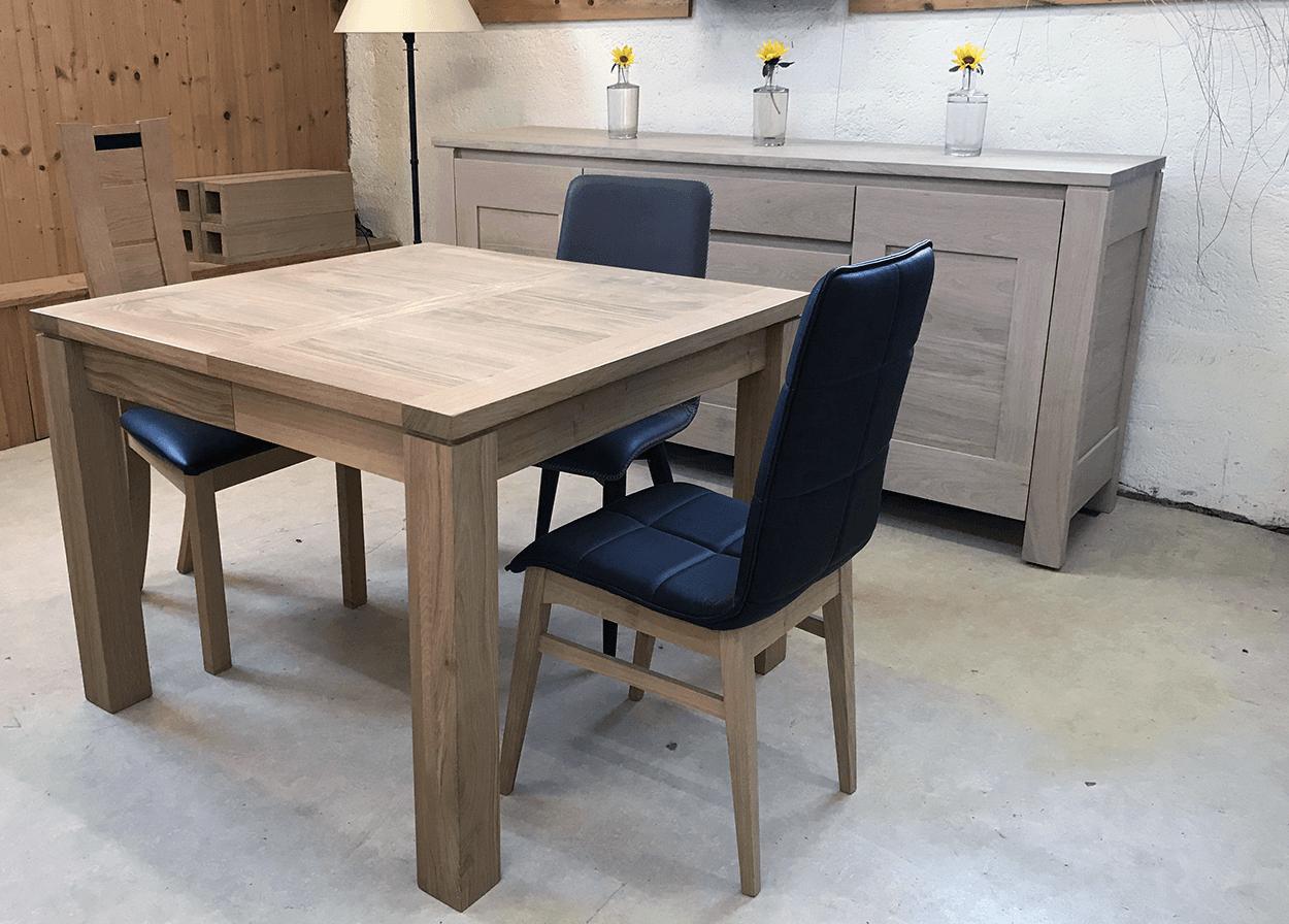 Table En Bois Chene Clair table à allonges cali naturel carrée - bois de chêne massif - - création  laurent vuillemin