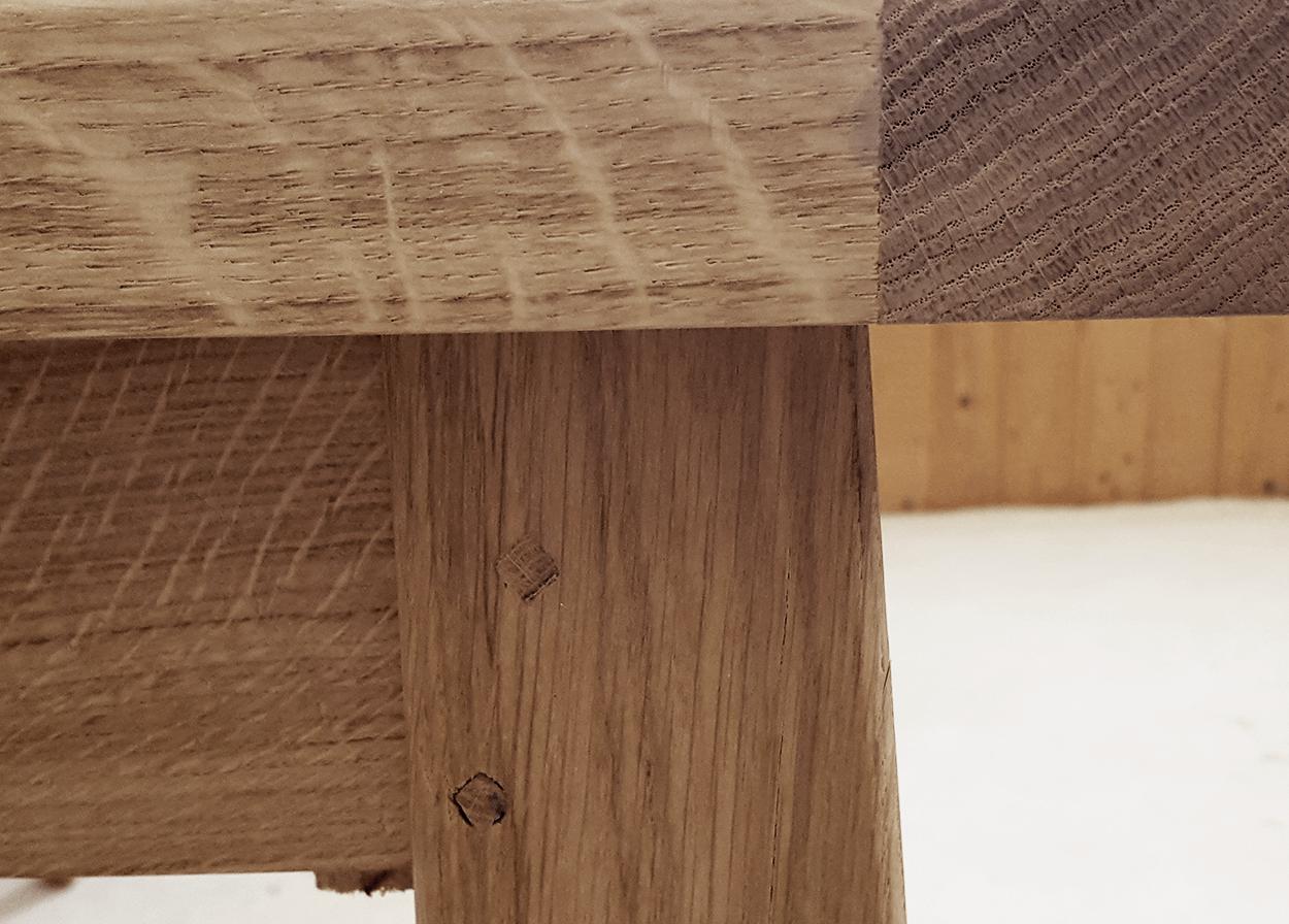 table fixe atelier bois de chene massif aspect brut